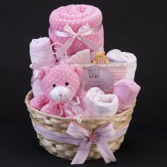 Baby Carriage Gift Hamper – Overflowing with gifts for the Baby Girl, this Basket makes an ideal Maternity/Shower Gift Welcome the Sweet Baby Girl with this nappy cake, which is full of essential baby items. All gifts used ar… Baby Girl Gift Baskets, Baby Gift Hampers, Baby Shower Gift Basket, Baby Hamper, Birthday Gift Baskets, Baby Girl Gifts, Baby Shower Gifts, Birthday Box, Halloween Birthday