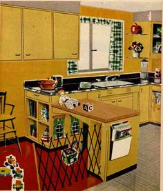 1950's kitchen. Notice the little play area that they created under the bar.