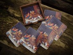 Wooden decoupage coasters