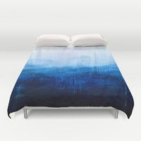 Duvet Covers featuring All good things are wild and free - Ocean Ombre Painting by Prelude Posters