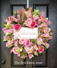 This wreath features a wonderful floral welcome sign. There are coordinating roses, greenery, mesh and ribbons that all together create a beautiful wreath. Turning your house into a home is as easy as adding a beautiful wreath on your front door Spring Door Wreaths, Deco Mesh Wreaths, Summer Wreath, Wreaths For Front Door, Pink Wreath, Floral Wreath, Chevron Ribbon, Mothers Day Wreath, Welcome Wreath