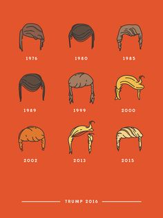 """In spirit of tonight's GOP debate, here is the evolution of Donald Trump's hair.. illustrated. """"There will be hell toupee!""""  credit: Meg Robichaud"""