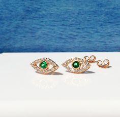 eye earrings, evil eye earrings, charm earrings, stud earrings, tiny earrings, rose gold earrings by LuckyCharmsUSA on Etsy