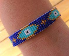 Royal Blue Beaded Loom Evil Eye Bracelet with Tassel  Blue