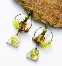 Rustic raku ceramic earrings Czech glass flowers by Montroulezgirl