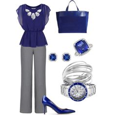 Love this sapphire and grey ensemble. The delicate blouse goes so well with the grey trousers and those beautiful shoes. The antique looking jewelry is gorgeous and I love the coordinating bag. The watch looks a little too masculine for this outfit. Pass on that.