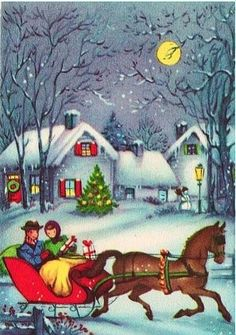 Vintage Greeting Card Christmas Horse Sleigh People Old Fashioned Snow Christmas Card Pictures, Vintage Christmas Images, Holiday Pictures, Victorian Christmas, Retro Christmas, Vintage Holiday, Christmas Horses, Old Fashioned Christmas, Christmas Scenes