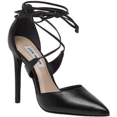 STEVE MADDEN Raela Black Leather Pointed Heel ($109) ❤ liked on Polyvore featuring shoes, pumps, black leather, black shoes, black pumps, black high heel pumps, leather pumps and black high heel shoes