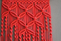 Wall panels handmade macrame technique. Material: 100% polyester. Color: red. Strap: natural wood - pine. size: The length of the wooden deck to the bottom, including threads - 100 сm / 39.4 inches Width - 33cm / 13 inches
