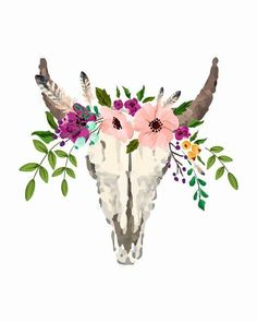 Floral Bull Skull Art Print --THE DETAILS-- This print measures 10 H x 8 W and is printed on medium card stock in the default colors Bull Skull Tattoos, Bull Skulls, Cow Skull, Skull Art, Skull Wallpaper Iphone, Macbook Wallpaper, Taurus Tattoos, Skull Painting, Wow Art