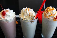 Three adult shakes: (l to r) Chocolate Cherry Pinot Noir, Egg Nog, and Dulce de Leche