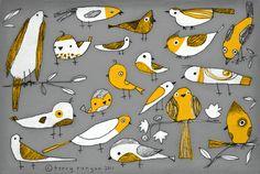 BIRD BUNCH--Terry Runyan Prints:  http://society6.com/TerryRunyan/BIRD-BUNCH#1=45