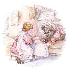 Tiggy-Winkle doing the ironing, by Beatrix Potter Beatrix Potter, Illustration Story, Woodland Illustration, Peter Rabbit And Friends, Hedgehog Pet, Miniature Figurines, Art For Art Sake, Whimsical Art, Illustrations Posters