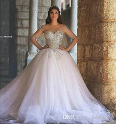 2016 Said Mhamad Bling Bling Wedding Dresses Crystals Illusion Scoop Neck Half Sleeve Rhinestones Beading Backless A-Line Ball Bridal Gowns