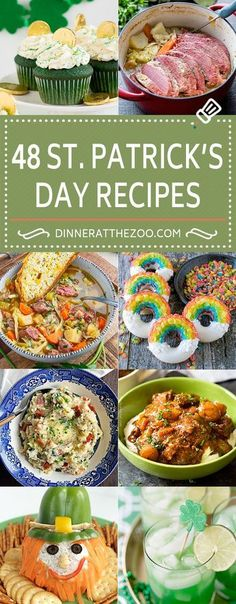 Patrick's Day Recipes! From desserts to supper, snacks and treats, this r… 48 St. Patrick's Day Recipes! From desserts to supper, snacks and treats, this roundup has 48 fabulously fun ideas for St. Patty's Day! St Patrick Day Snacks, St Patricks Day Drinks, St Patricks Day Food, Saint Patricks, Jello Shots, Pavlova, St Patrick's Day Menu, Cheesecakes, St Patrick's Day Appetizers