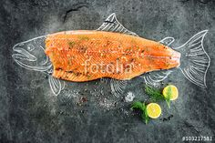 raw salmon fish steak with ingredients like lemon, pepper, sea salt and dill on black board, sketched image with chalk of salmon fish with steak Vinyl Wall Mural - Food Raw Salmon, Fish Farming, Food Security, Fatty Fish, Healthy Recipes For Weight Loss, Healthy Foods, Salmon Recipes, Health And Nutrition, Natural Health