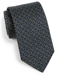 Eton of Sweden - Muted Floral Silk Tie: Green is a great accent color, so it's a perfect choice for a tie.