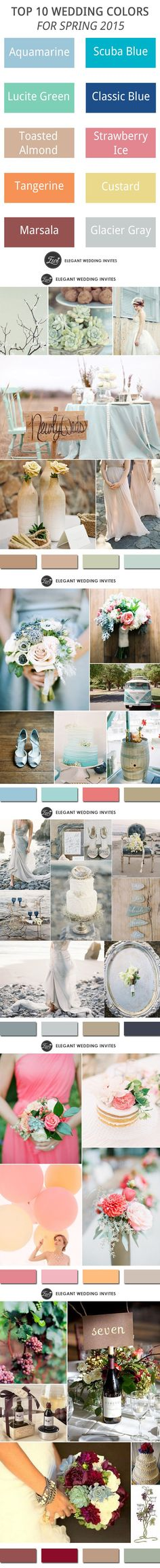 After checking the whole 2015 wedding color trends (check it HERE), let's turn on the spring wedding colors. We'll see a move toward the cooler and softer side for 2015 spring colors, an eclectic, ethereal mix of unde. 2015 Wedding Trends, 2015 Trends, Wedding 2015, Spring Wedding, Our Wedding, Dream Wedding, Wedding Color Schemes, Wedding Colors, Colour Schemes