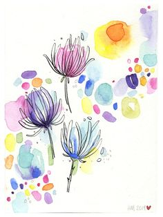 Abstract Watercolor, Watercolor And Ink, Watercolor Flowers, Flower Painting Abstract, Simple Flower Painting, Rainbow Painting, Rainbow Art, Painting Flowers, Watercolor Landscape