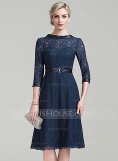 [US$ 138.99] A-Line/Princess Scoop Neck Knee-Length Lace Mother of the Bride Dress With Ruffle Beading Sequins