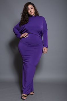 Plus Size Long Sleeve Back Low-V Maxi Dress