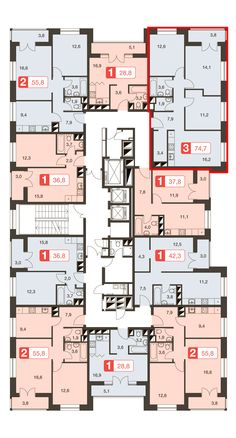 Social Housing Architecture, Plans Architecture, Residential Architecture, Hotel Floor Plan, Small House Floor Plans, Residential Building Plan, Planer Layout, Architectural Floor Plans, Apartment Floor Plans