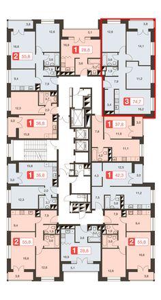 Duplex Floor Plans, Hotel Floor Plan, Small House Floor Plans, Apartment Floor Plans, Plans Architecture, Residential Architecture, Residential Building Plan, Planer Layout, Architectural Floor Plans