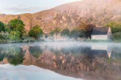 """Guagán Barra, meaning """"the rock of Barra"""" in the early morning with mists rising. Early Morning, The Rock, Mists, Meant To Be, Ireland, Landscapes, River, Mountains, Nature"""