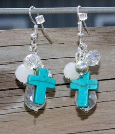 Turquoise Cross Teardrop/round Bead Dangle Earrings by LidsnGlitz