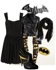 The Batman Look - Geek Girl Fashion. Thanks - Storefront Life - Storefront Life Vermillion for pinning this at me! Batman Outfits, Emo Outfits, Cute Outfits, Fashion Outfits, Rock Outfits, Party Outfits, Batman Shoes, Geek Girl Fashion, Punk Fashion