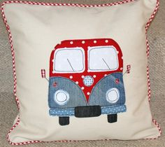 Patriotic Campervan Cushion £19.99 Cute Cushions, Scatter Cushions, Stag Cushion, Campervan Gifts, Sewing Crafts, Sewing Projects, Car Fabric, Crafty Hobbies, Watercolor Quilt