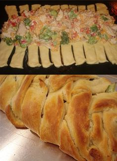 Chicken & broccoli braid. made this for dinner using the wheat version of homemade crescent rolls