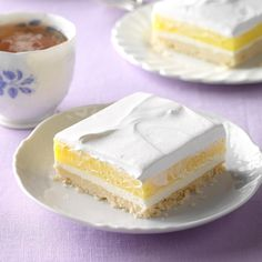 Lemon Pudding Dessert Recipe -After a big meal, folks really go for this light lemon treat. The shortbread crust is the perfect base for the fluffy top layers. I've prepared this sunny dessert for church suppers for years and I always get recipe requests. —Muriel DeWitt, Maynard, Massachusetts