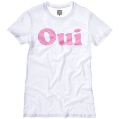 Womens Girls Oui Non Pink T-Shirt Top Tee Celfie Co Co Wildfox Sexy... (36 CAD) ❤ liked on Polyvore featuring tops, t-shirts, graphic t shirts, logo tee, graphic print t shirts, graphic design t shirts ve sexy graphic tees