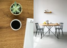 Oak Steel Table Round Built for eternity. Solid oak wood. Steel base. Handcrafted in Berlin. Available in different sizes. By young architect from Berlin. furniture design studio NUTSANDWOODS