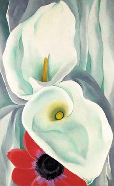 Georgia O'Keeffe; Calla Lilies with Red Anemone
