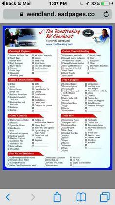 The road trekking rv packing list
