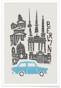 Berlin Cityscape als Premium Poster von Fox & Velvet Colorful Drawings, City Illustration, Cityscape Art Projects, Cityscape Art, Sketch Book, Berlin Art, Canvas Prints, Linocut, Art