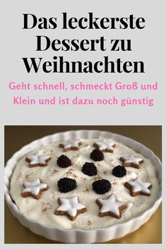 A Christmas dessert for the whole family. Finished in 5 minutes, 3 ingredients ., A Christmas dessert for the whole family. Ready in 5 minutes, 3 ingredients and possibility for individual decoration. Dessert Dips, Köstliche Desserts, Low Carb Desserts, Summer Desserts, Christmas Desserts, Dessert Simple, Pina Colada, Cake Recipe For Decorating, Cake Recipes