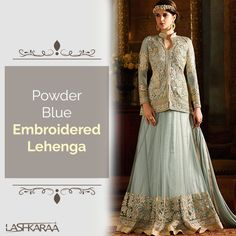 Powder Blue Embroidered Lehenga features a net kameez with a heavy satin inner and nazmine chiffon dupatta. Embroidery work is completed with zari and stone embellishments.