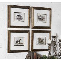 """Accented by white mats, these prints are surrounded by bronze leaf frames with a black wash. Matching fillets are around inner edges of mats. Prints are under glass.  Measures 18.63""""L x 16.63""""H x 1.38""""D"""