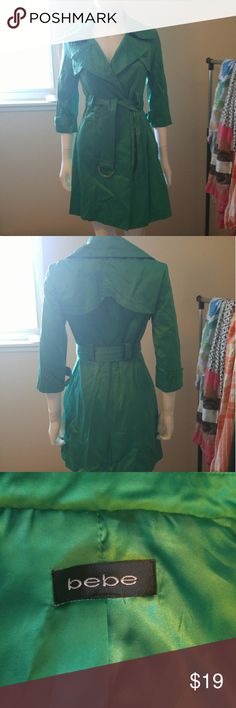 Final Price! Bebe emerald 3/4 sleeve trench Light/medium weight, pockets, lined.  Fun emerald green color pops!  True to size.  Worn once, sorry for the wrinkles, it's been in storage. bebe Jackets & Coats Trench Coats