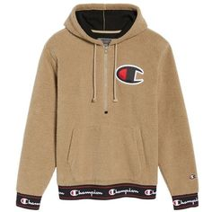 Men's Champion Teddybear Fleece Half-Zip Hoodie ($90) ❤ liked on Polyvore featuring men's fashion, men's clothing, men's hoodies, mens sweatshirts and hoodies, mens half zip hoodie, mens hooded sweatshirts, mens fleece hoodies and mens hoodie