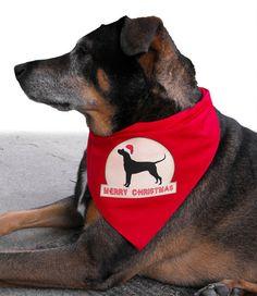 Christmas Pet Bandana with Santa Dog Silhouette by doggydesign