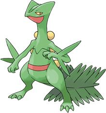 Sceptile is a Grass type Pokémon introduced in Generation 3. It is known as the Forest Pokémon.