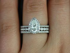 This is it but with the more tear shaped middle band! - Tabitha & Petite Bubbles 14kt Gold Pear FB Moissanite and Diamonds Halo TRIO Engagement Ring (Other metals and stone options available)