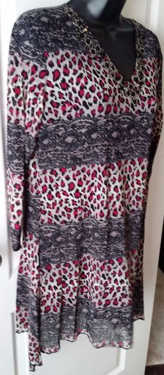 AZI leapord/lace print 3/4 sleeve V neck pullover shirt blouse embelished LARGE #AZIJeans #Pullover #Casual