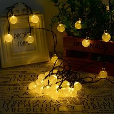 Solar Outdoor String Lights Warm White Crystal Ball Solar Powered Globe Fairy Lights for Garden Fence Path Landscape Decoration LED Warm White) Led Solar, Solar Led Lights, Solar Lamp, Solar Battery, Patio String Lights, Globe String Lights, String Lighting, Christmas Fairy Lights, Christmas Tree Decorations