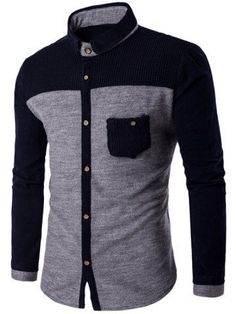 Corduroy Spliced Color Block Pocket Shirt - LIGHT GRAY M Mobile
