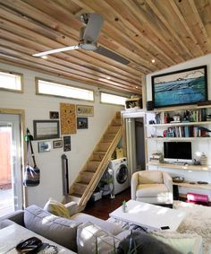 "Inside the Urban Cabin, Dave used 6"" tongue-and-groove pine walls painted white and beetle kill pine for the ceiling."